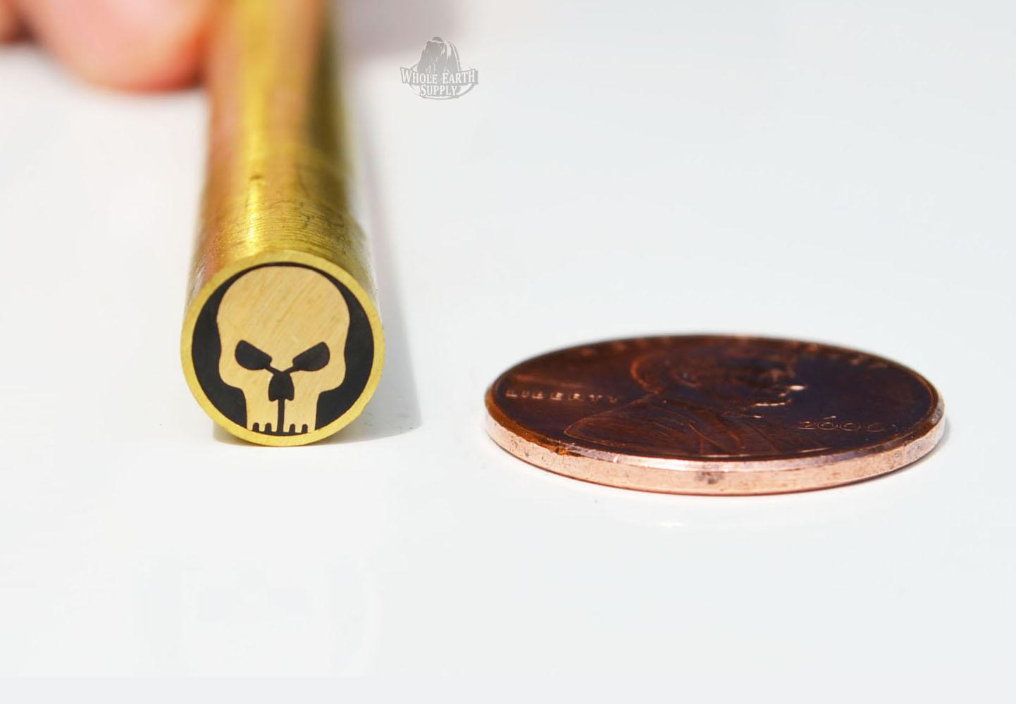 BlanksAndBlades com - Mosaic Pin #217 Skull Black 8mm Brass Knife